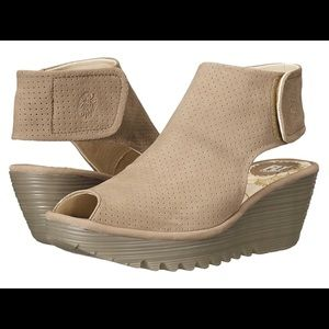 NWT Fly London Peep Toe Wedge Color: Taupe Cupido